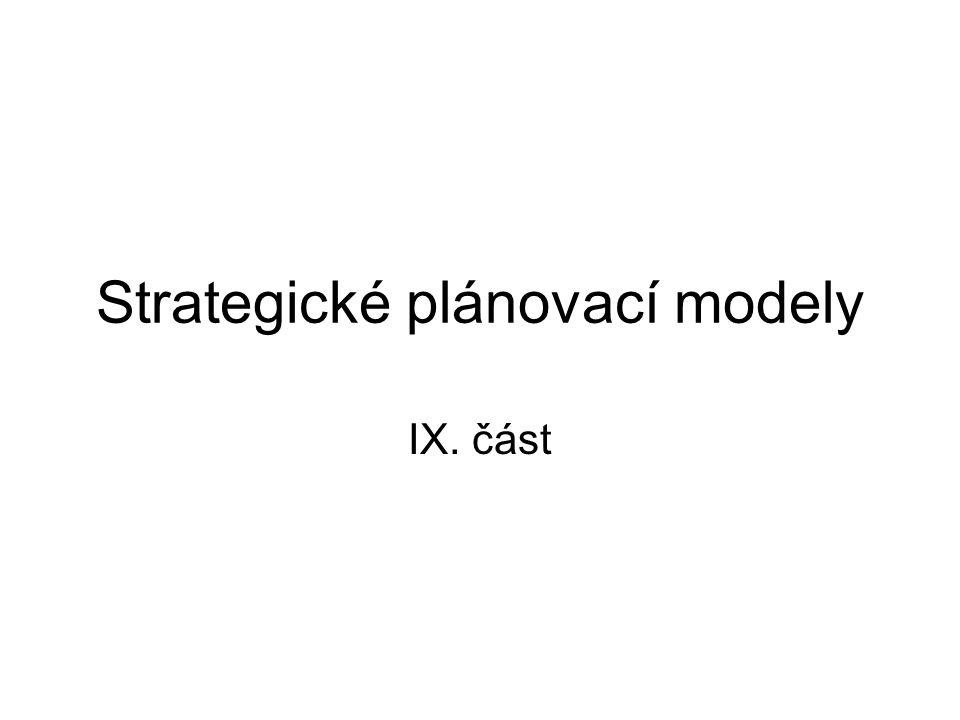Čtyři strategické plánovací modely Na základě charakteristiky různých typů organizačních strategií a porozumění, v jakém vztahu je strategie k okolnímu prostředí, byly vytvořeny čtyři strategické plánovací modely: adaptační model, konkurenční model, portfoliový model, a model přežití.
