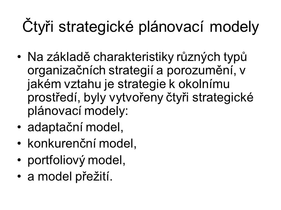 Aplikace portfoliového modelu Portfoliový model je ve svém použití poněkud omezen.