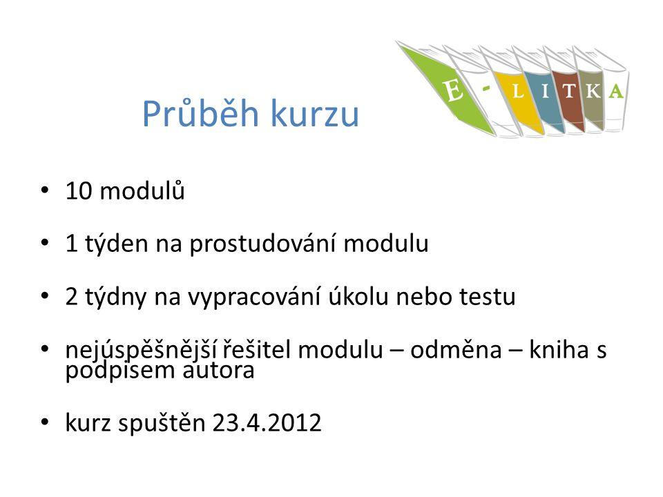 Průběh kurzu 10 modulů 1 týden na prostudování modulu 2 týdny na vypracování úkolu nebo testu nejúspěšnější řešitel modulu – odměna – kniha s podpisem autora kurz spuštěn 23.4.2012