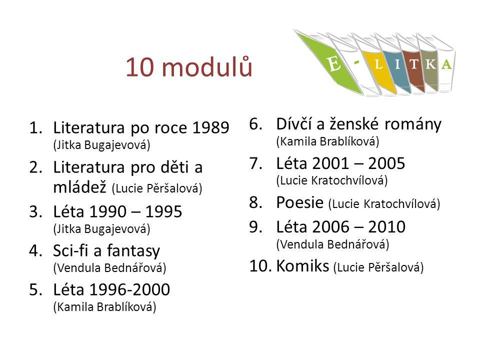 10 modulů 1.Literatura po roce 1989 (Jitka Bugajevová) 2.Literatura pro děti a mládež (Lucie Pěršalová) 3.Léta 1990 – 1995 (Jitka Bugajevová) 4.Sci-fi a fantasy (Vendula Bednářová) 5.Léta 1996-2000 (Kamila Brablíková) 6.Dívčí a ženské romány (Kamila Brablíková) 7.Léta 2001 – 2005 (Lucie Kratochvílová) 8.Poesie (Lucie Kratochvílová) 9.Léta 2006 – 2010 (Vendula Bednářová) 10.Komiks (Lucie Pěršalová)
