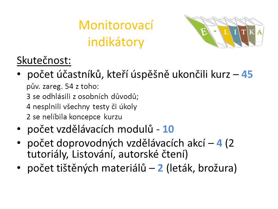 Monitorovací indikátory Skutečnost: počet účastníků, kteří úspěšně ukončili kurz – 45 pův.
