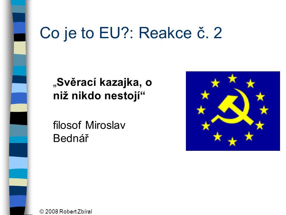 """© 2008 Robert Zbíral """"Svěrací kazajka, o niž nikdo nestojí filosof Miroslav Bednář Co je to EU : Reakce č."""