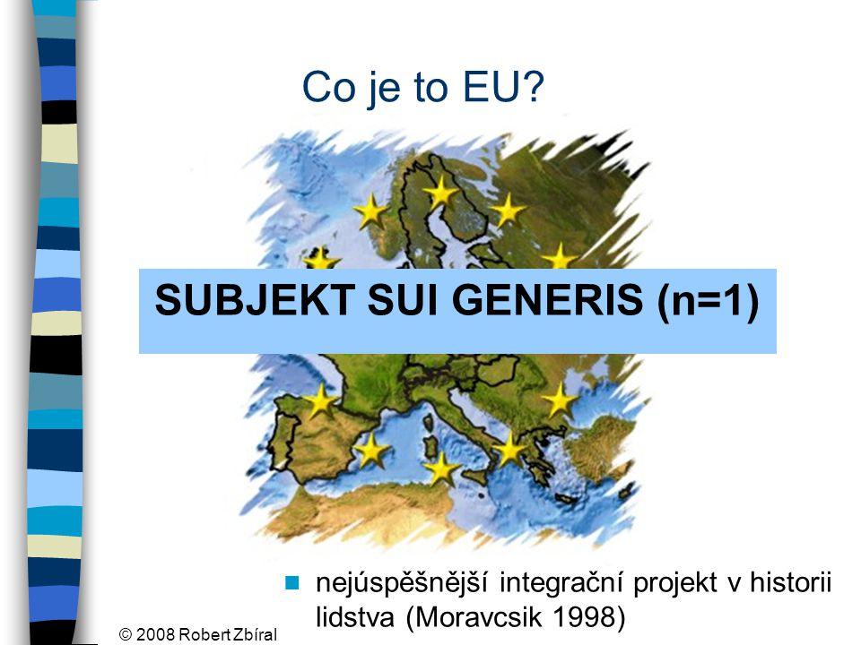 © 2008 Robert Zbíral EU- unikátní forma existence nadnárodní prvek (extrém: státy zaniknou) mezivládní prvek (extrém: o všem rozhodují vlády států)
