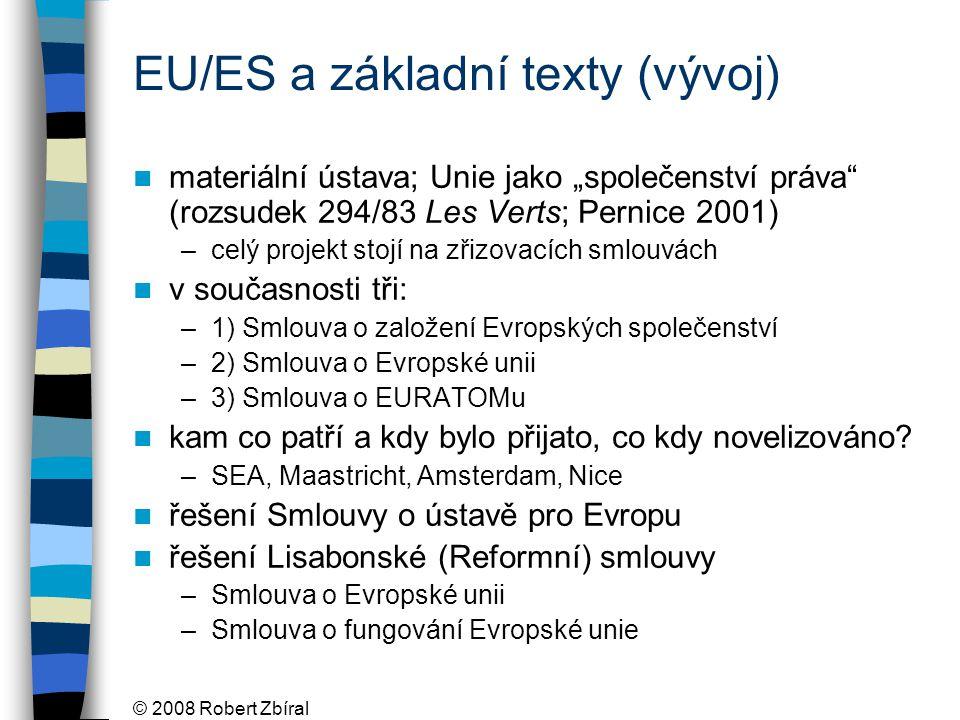 """© 2008 Robert Zbíral EU/ES a základní texty (vývoj) materiální ústava; Unie jako """"společenství práva (rozsudek 294/83 Les Verts; Pernice 2001) –celý projekt stojí na zřizovacích smlouvách v současnosti tři: –1) Smlouva o založení Evropských společenství –2) Smlouva o Evropské unii –3) Smlouva o EURATOMu kam co patří a kdy bylo přijato, co kdy novelizováno."""