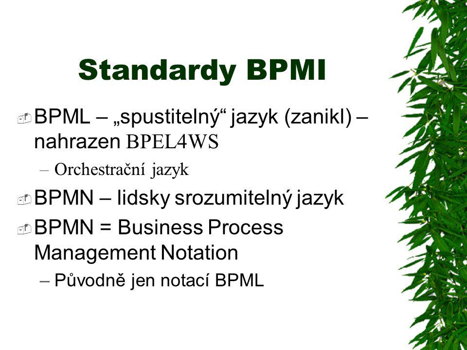 """Standardy BPMI  BPML – """"spustitelný jazyk (zanikl) – nahrazen BPEL4WS –Orchestrační jazyk  BPMN – lidsky srozumitelný jazyk  BPMN = Business Process Management Notation –Původně jen notací BPML"""