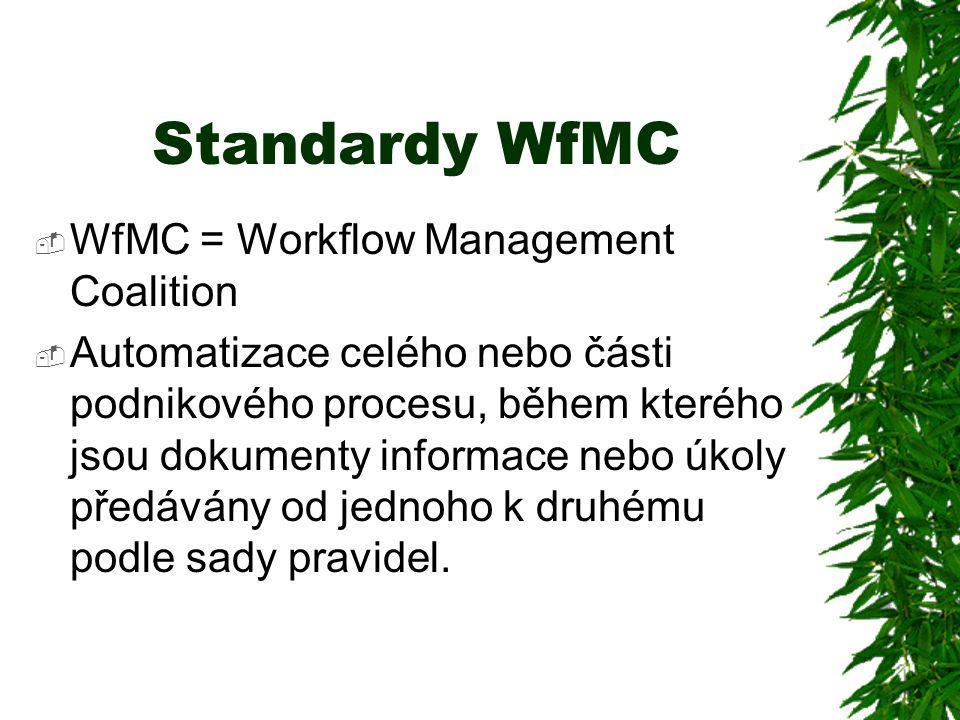 Standardy WfMC  WfMC = Workflow Management Coalition  Automatizace celého nebo části podnikového procesu, během kterého jsou dokumenty informace nebo úkoly předávány od jednoho k druhému podle sady pravidel.