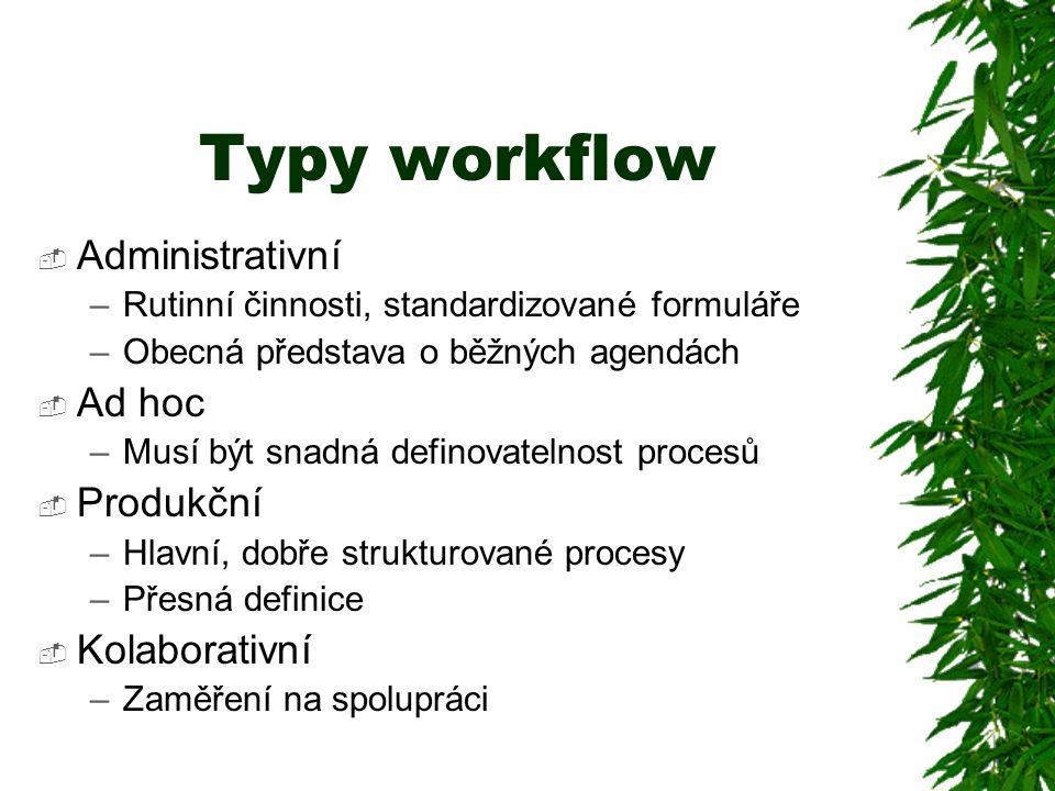 Typy workflow  Administrativní –Rutinní činnosti, standardizované formuláře –Obecná představa o běžných agendách  Ad hoc –Musí být snadná definovate
