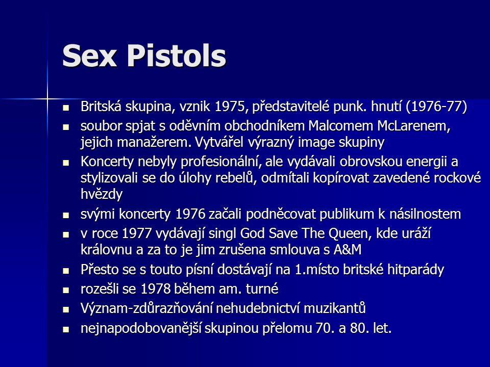 Sex Pistols Britská skupina, vznik 1975, představitelé punk.