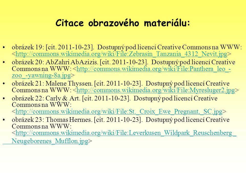 Citace obrazového materiálu: obrázek 19: [cit. 2011-10-23]. Dostupný pod licencí Creative Commons na WWW: http://commons.wikimedia.org/wiki/File:Zebra