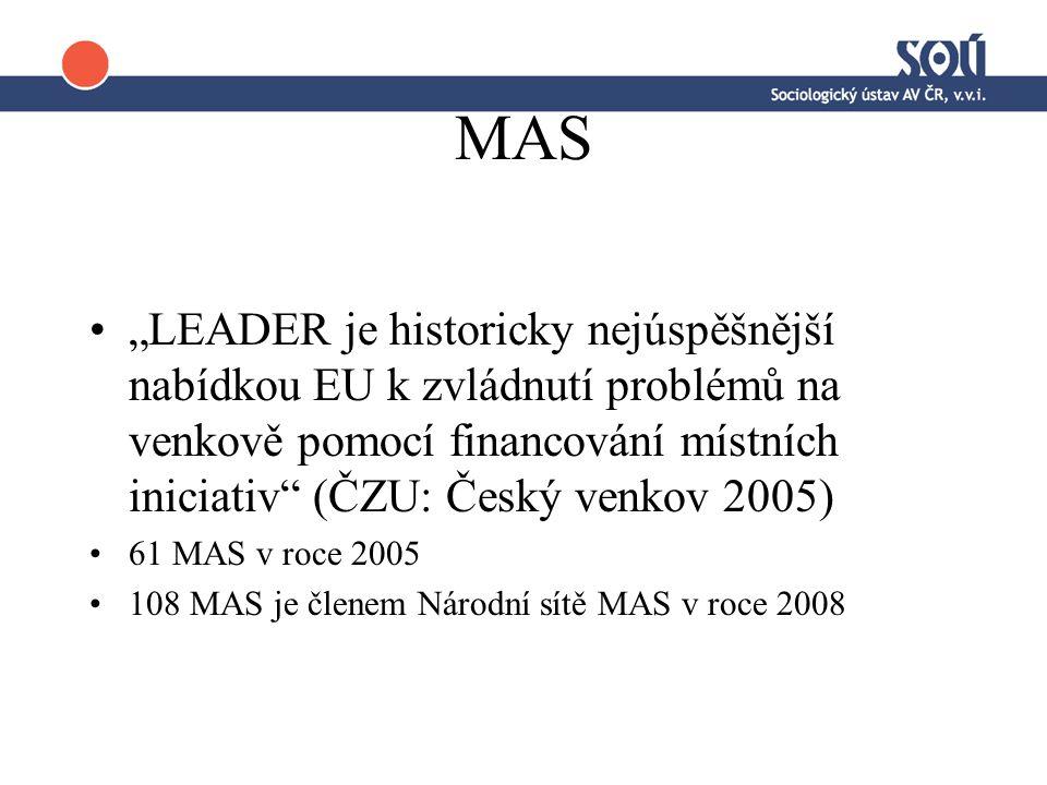"""MAS """"LEADER je historicky nejúspěšnější nabídkou EU k zvládnutí problémů na venkově pomocí financování místních iniciativ (ČZU: Český venkov 2005) 61 MAS v roce 2005 108 MAS je členem Národní sítě MAS v roce 2008"""