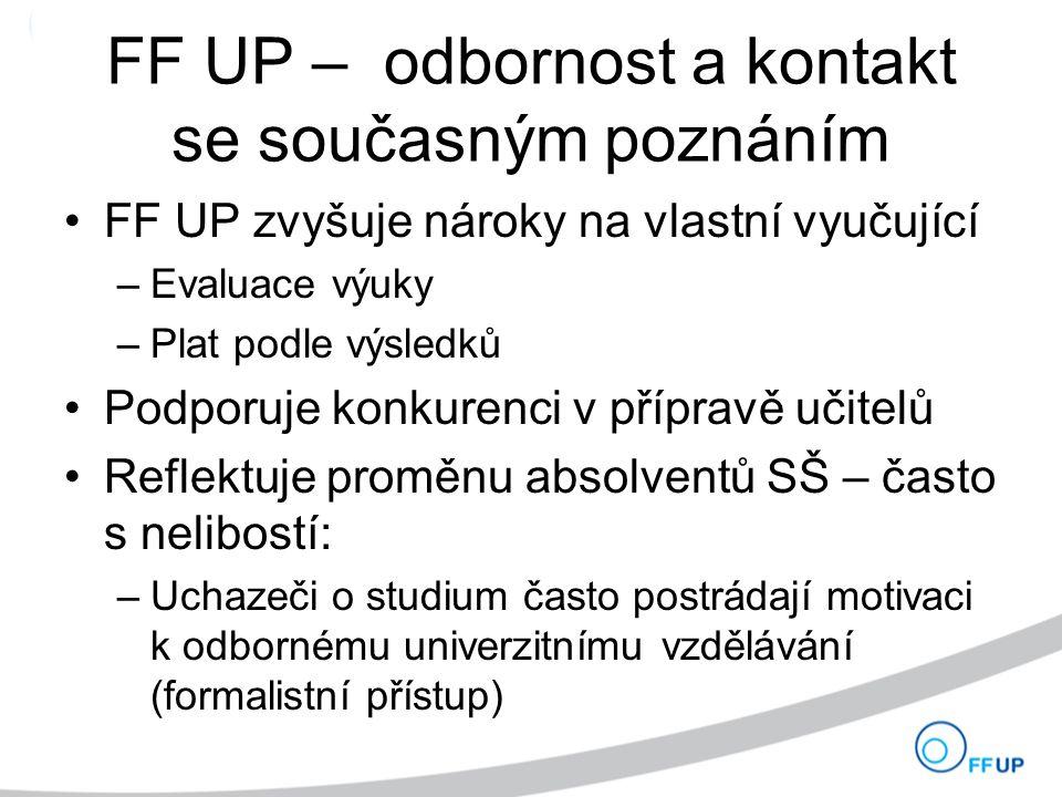 FF UP – odbornost a kontakt se současným poznáním FF UP zvyšuje nároky na vlastní vyučující –Evaluace výuky –Plat podle výsledků Podporuje konkurenci v přípravě učitelů Reflektuje proměnu absolventů SŠ – často s nelibostí: –Uchazeči o studium často postrádají motivaci k odbornému univerzitnímu vzdělávání (formalistní přístup)