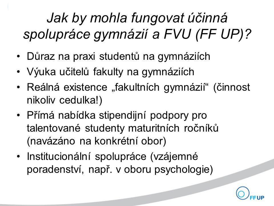 Jak by mohla fungovat účinná spolupráce gymnázií a FVU (FF UP).