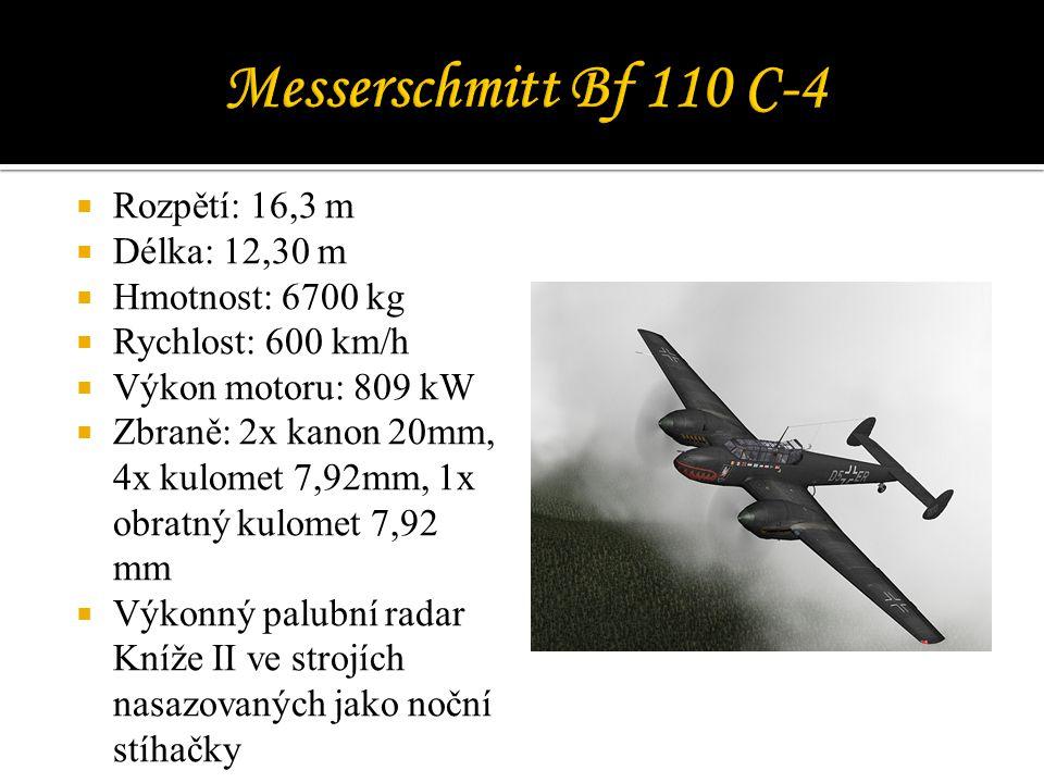  Rozpětí: 16,3 m  Délka: 12,30 m  Hmotnost: 6700 kg  Rychlost: 600 km/h  Výkon motoru: 809 kW  Zbraně: 2x kanon 20mm, 4x kulomet 7,92mm, 1x obratný kulomet 7,92 mm  Výkonný palubní radar Kníže II ve strojích nasazovaných jako noční stíhačky