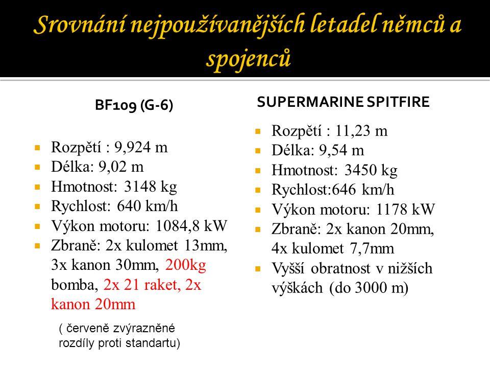 BF109 (G-6)  Rozpětí : 9,924 m  Délka: 9,02 m  Hmotnost: 3148 kg  Rychlost: 640 km/h  Výkon motoru: 1084,8 kW  Zbraně: 2x kulomet 13mm, 3x kanon 30mm, 200kg bomba, 2x 21 raket, 2x kanon 20mm SUPERMARINE SPITFIRE  Rozpětí : 11,23 m  Délka: 9,54 m  Hmotnost: 3450 kg  Rychlost:646 km/h  Výkon motoru: 1178 kW  Zbraně: 2x kanon 20mm, 4x kulomet 7,7mm  Vyšší obratnost v nižších výškách (do 3000 m) ( červeně zvýrazněné rozdíly proti standartu)