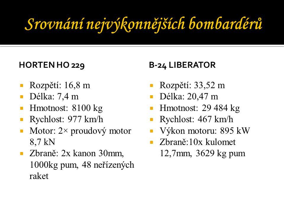 HORTEN HO 229  Rozpětí: 16,8 m  Délka: 7,4 m  Hmotnost: 8100 kg  Rychlost: 977 km/h  Motor: 2× proudový motor 8,7 kN  Zbraně: 2x kanon 30mm, 1000kg pum, 48 neřízených raket B-24 LIBERATOR  Rozpětí: 33,52 m  Délka: 20,47 m  Hmotnost: 29 484 kg  Rychlost: 467 km/h  Výkon motoru: 895 kW  Zbraně:10x kulomet 12,7mm, 3629 kg pum