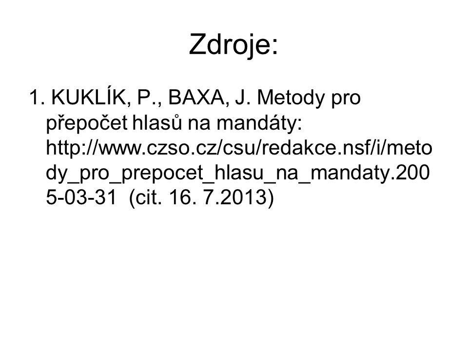 Zdroje: 1.KUKLÍK, P., BAXA, J.