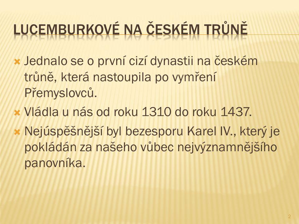  Jednalo se o první cizí dynastii na českém trůně, která nastoupila po vymření Přemyslovců.