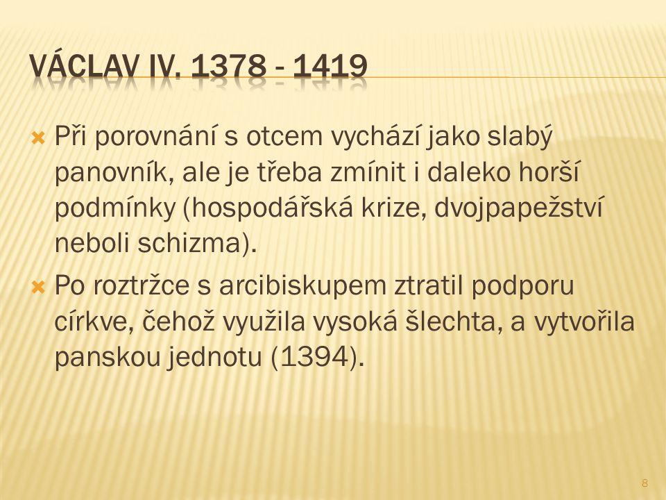  1393 nechal Václav IV.umučit blízkého spolupracovníka Jana Jenštejna Jana Nepomuckého.