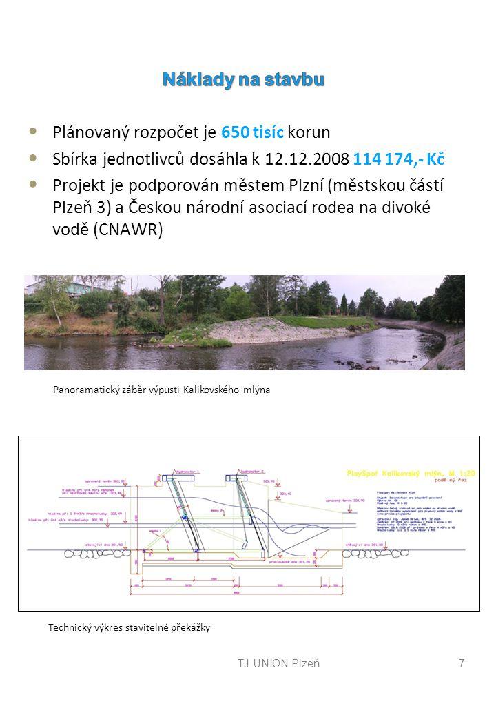 TJ UNION Plzeň7 Panoramatický záběr výpusti Kalikovského mlýna Technický výkres stavitelné překážky