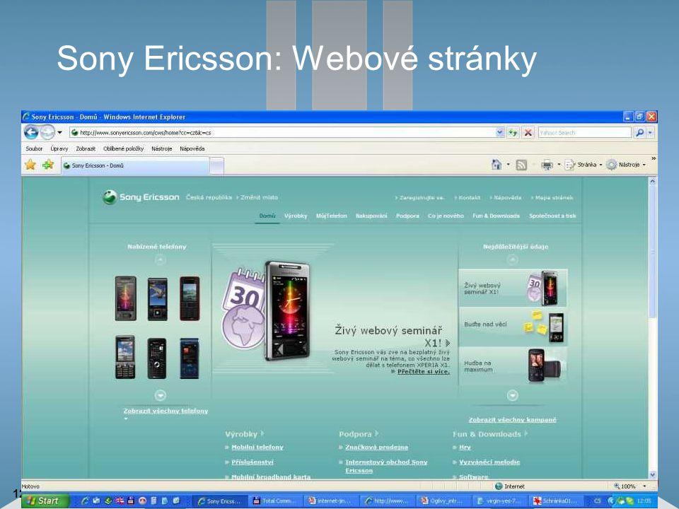 12 Sony Ericsson: Webové stránky