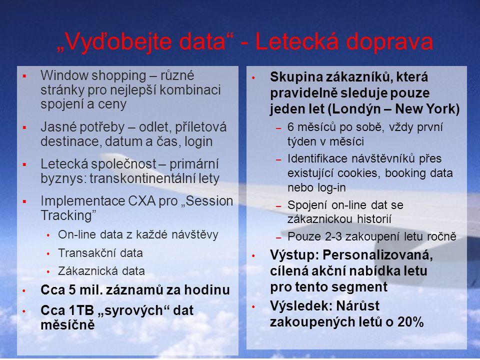 """""""Vyďobejte data - Letecká doprava  Window shopping – různé stránky pro nejlepší kombinaci spojení a ceny  Jasné potřeby – odlet, příletová destinace, datum a čas, login  Letecká společnost – primární byznys: transkontinentální lety  Implementace CXA pro """"Session Tracking On-line data z každé návštěvy Transakční data Zákaznická data Cca 5 mil."""