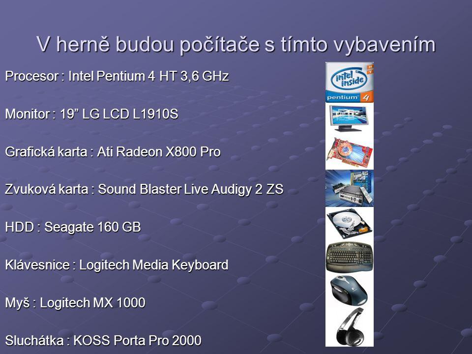 V herně budou počítače s tímto vybavením Procesor : Intel Pentium 4 HT 3,6 GHz Monitor : 19 LG LCD L1910S Grafická karta : Ati Radeon X800 Pro Zvuková karta : Sound Blaster Live Audigy 2 ZS HDD : Seagate 160 GB Klávesnice : Logitech Media Keyboard Myš : Logitech MX 1000 Sluchátka : KOSS Porta Pro 2000