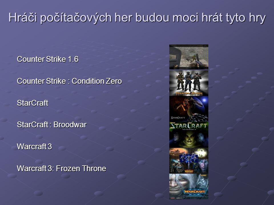 Hráči počítačových her budou moci hrát tyto hry Counter Strike 1.6 Counter Strike : Condition Zero StarCraft StarCraft : Broodwar Warcraft 3 Warcraft 3: Frozen Throne