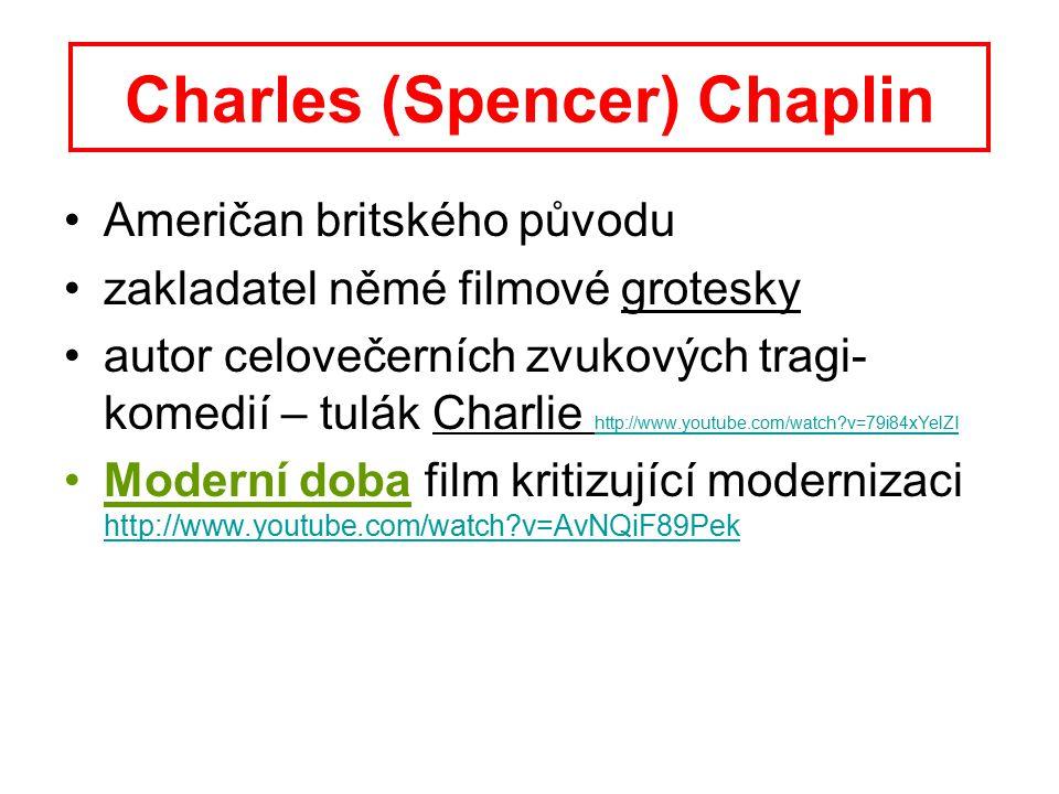 Charles (Spencer) Chaplin Američan britského původu zakladatel němé filmové grotesky autor celovečerních zvukových tragi- komedií – tulák Charlie http://www.youtube.com/watch?v=79i84xYelZI http://www.youtube.com/watch?v=79i84xYelZI Moderní doba film kritizující modernizaci http://www.youtube.com/watch?v=AvNQiF89Pek http://www.youtube.com/watch?v=AvNQiF89Pek