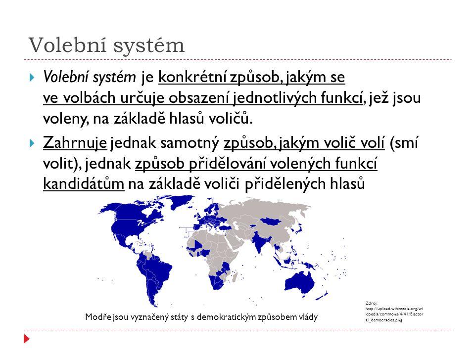 Volební systém  Volební systém je konkrétní způsob, jakým se ve volbách určuje obsazení jednotlivých funkcí, jež jsou voleny, na základě hlasů voličů