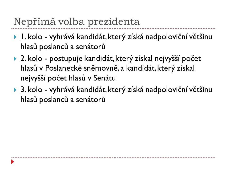 Nepřímá volba prezidenta  1. kolo - vyhrává kandidát, který získá nadpoloviční většinu hlasů poslanců a senátorů  2. kolo - postupuje kandidát, kter