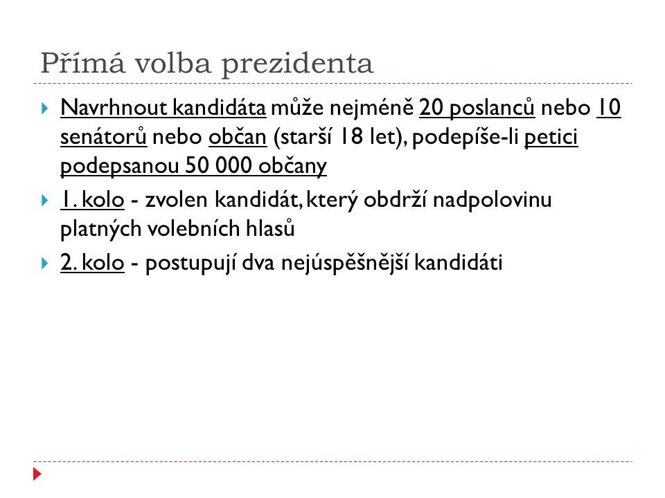 Volby do Senátu Parlamentu České republiky  Konají se tajným hlasováním na základě dvoukolového systému  Vyhlašuje je v zákonem stanovených lhůtách prezident České republiky  Probíhají v 81 jednomandátových obvodech  Obměna - každé 2 roky se mění 1/3  Předseda Senátu - Milan Štěch Zdroj: http://upload.wikimedia.org/wikip edia/commons/6/67/Sen%C3%A1t n%C3%AD_volebn%C3%AD_obv ody.PNG