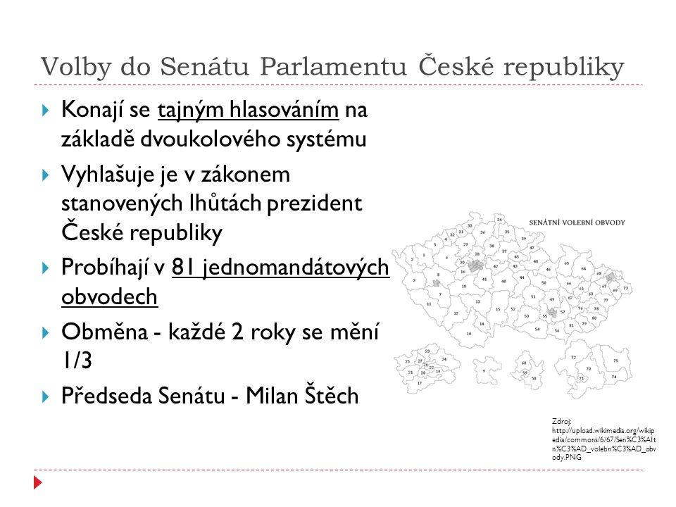 Volby do Senátu Parlamentu České republiky  Konají se tajným hlasováním na základě dvoukolového systému  Vyhlašuje je v zákonem stanovených lhůtách