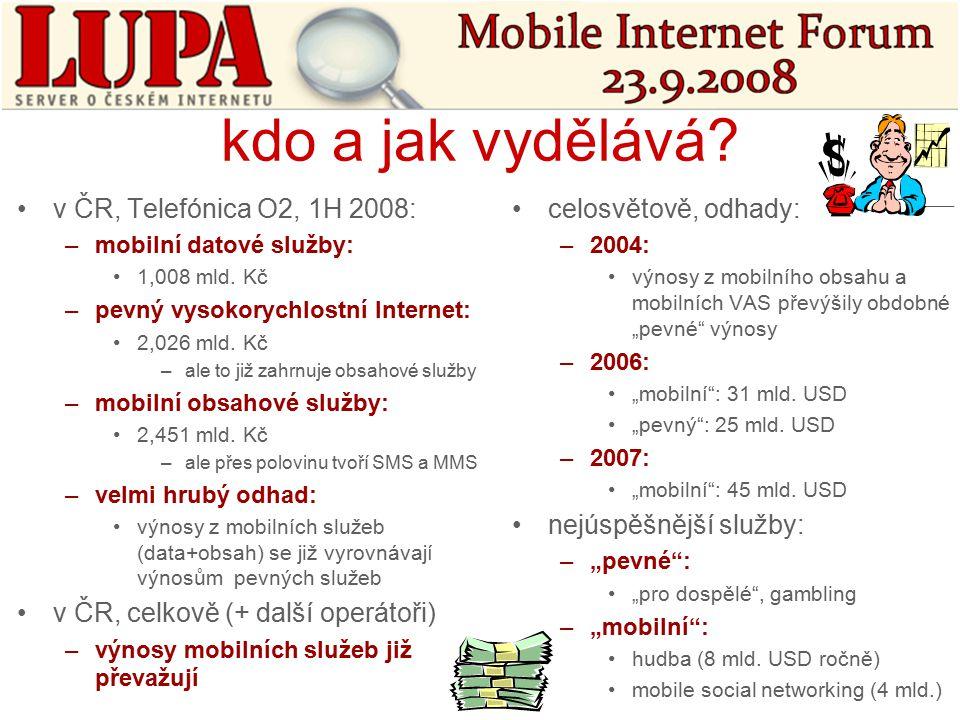 kdo a jak vydělává. v ČR, Telefónica O2, 1H 2008: –mobilní datové služby: 1,008 mld.