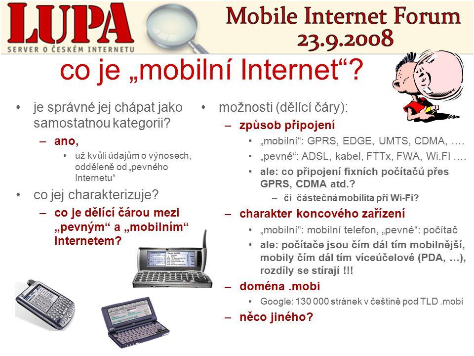 """co je """"mobilní Internet . je správné jej chápat jako samostatnou kategorii."""