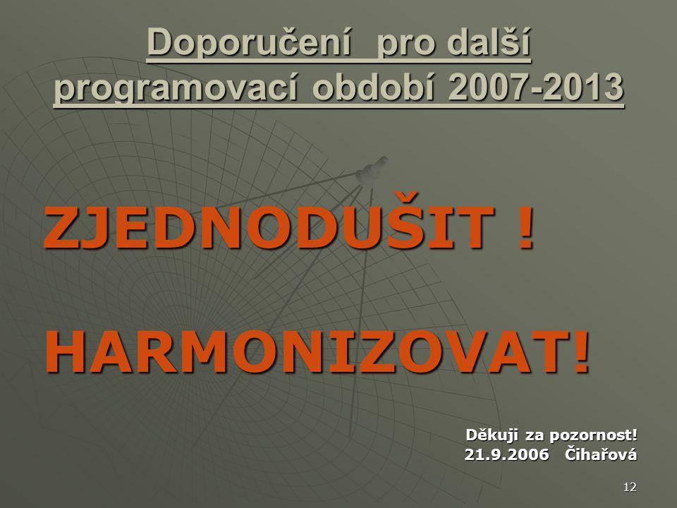 12 Doporučení pro další programovací období 2007-2013 ZJEDNODUŠIT .