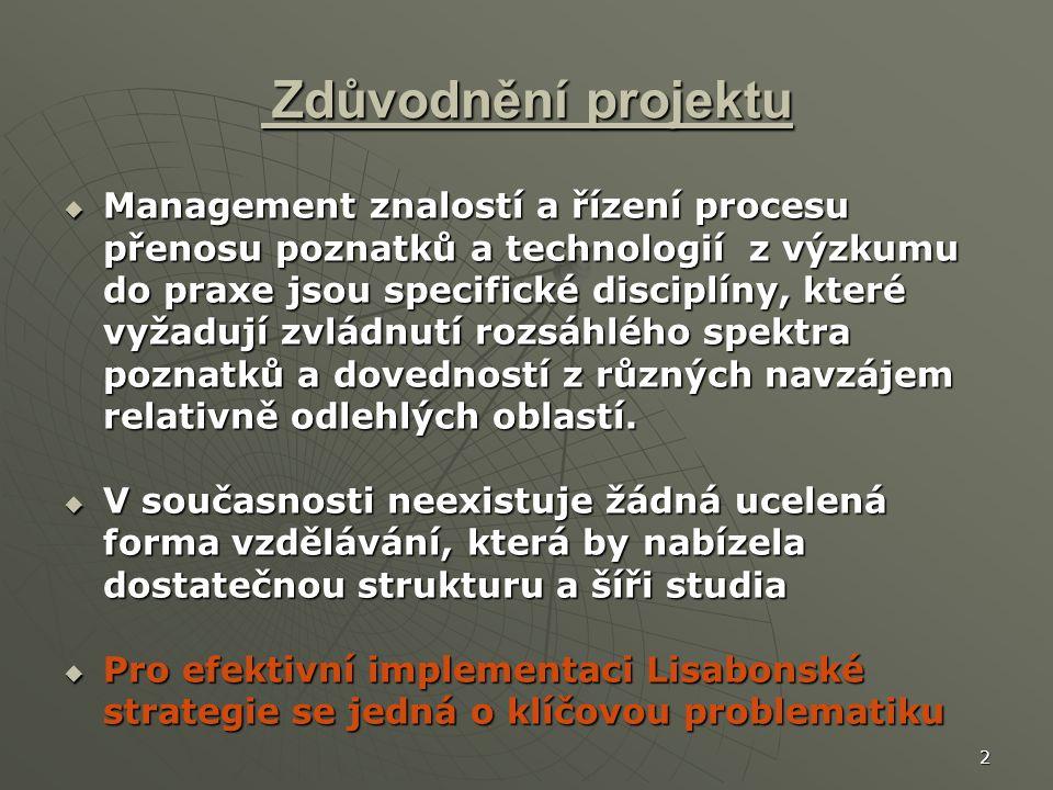 2 Zdůvodnění projektu Zdůvodnění projektu  Management znalostí a řízení procesu přenosu poznatků a technologií z výzkumu do praxe jsou specifické disciplíny, které vyžadují zvládnutí rozsáhlého spektra poznatků a dovedností z různých navzájem relativně odlehlých oblastí.
