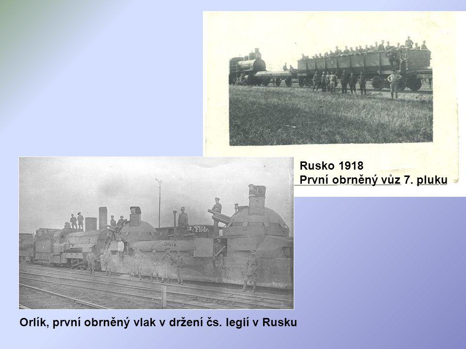 Orlík, první obrněný vlak v držení čs. legií v Rusku. Rusko 1918 První obrněný vůz 7. pluku