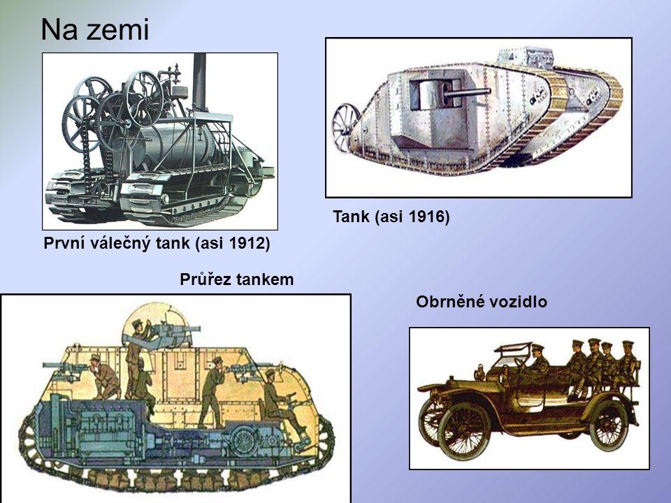 Na zemi Průřez tankem Obrněné vozidlo Tank (asi 1916) První válečný tank (asi 1912)