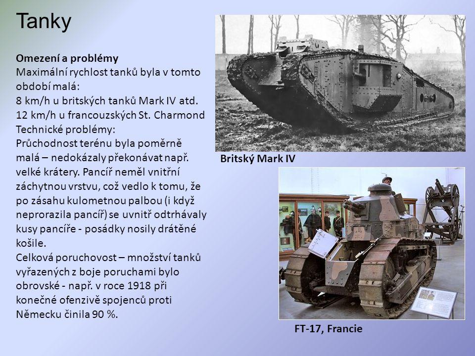 Tanky Omezení a problémy Maximální rychlost tanků byla v tomto období malá: 8 km/h u britských tanků Mark IV atd. 12 km/h u francouzských St. Charmond