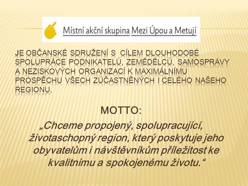 """MOTTO: """"Chceme propojený, spolupracující, životaschopný region, který poskytuje jeho obyvatelům i návštěvníkům příležitost ke kvalitnímu a spokojenému životu."""