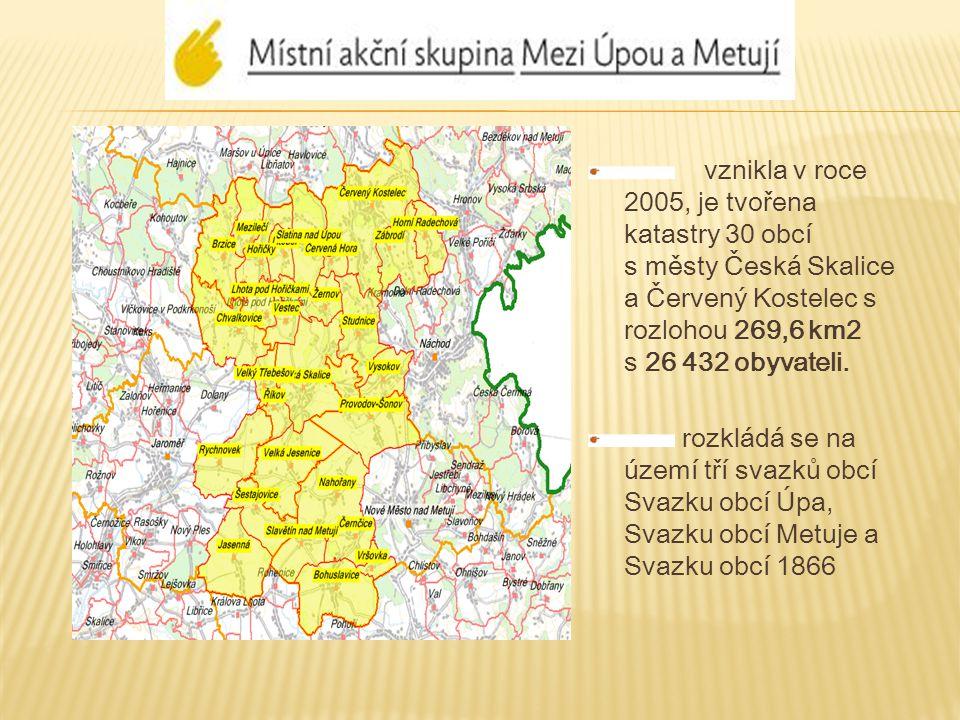 vznikla v roce 2005, je tvořena katastry 30 obcí s městy Česká Skalice a Červený Kostelec s rozlohou 269,6 km2 s 26 432 obyvateli.