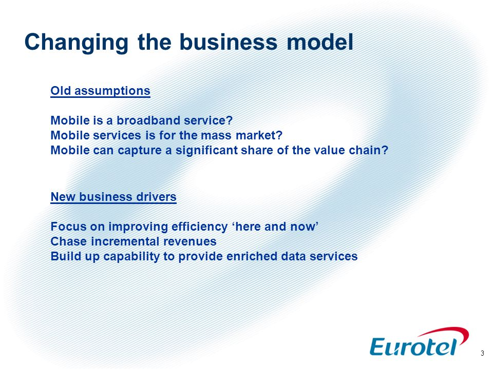4 2. Incremental 3.Technology Enablers 4. Commercial enablers Eurotel focus - 24 months 1.