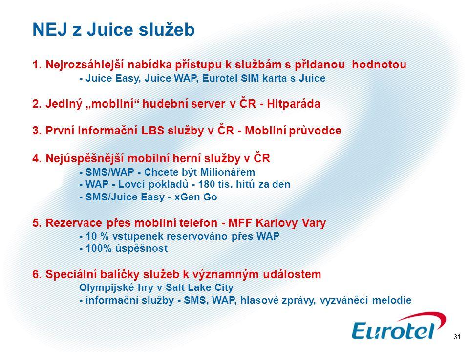 """31 NEJ z Juice služeb 1. Nejrozsáhlejší nabídka přístupu k službám s přidanou hodnotou - Juice Easy, Juice WAP, Eurotel SIM karta s Juice 2. Jediný """"m"""