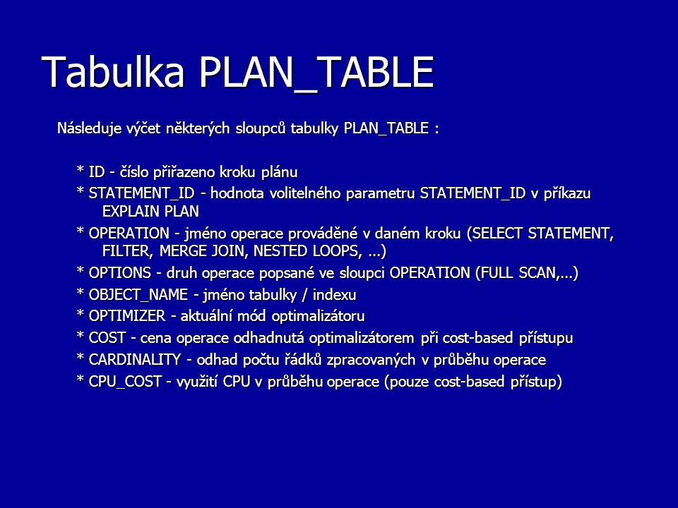 Tabulka PLAN_TABLE Následuje výčet některých sloupců tabulky PLAN_TABLE : * ID - číslo přiřazeno kroku plánu * ID - číslo přiřazeno kroku plánu * STAT