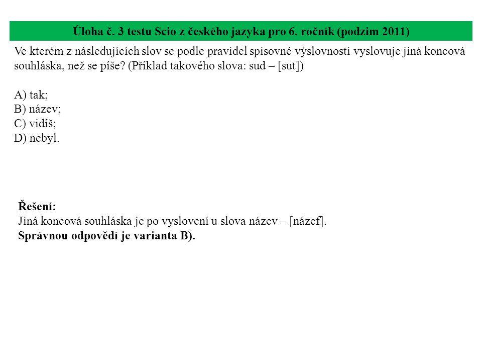 Úloha č. 3 testu Scio z českého jazyka pro 6. ročník (podzim 2011) Ve kterém z následujících slov se podle pravidel spisovné výslovnosti vyslovuje jin