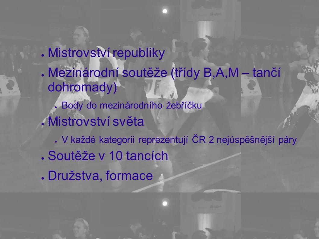 ● Mistrovství republiky ● Mezinárodní soutěže (třídy B,A,M – tančí dohromady) ● Body do mezinárodního žebříčku ● Mistrovství světa ● V každé kategorii