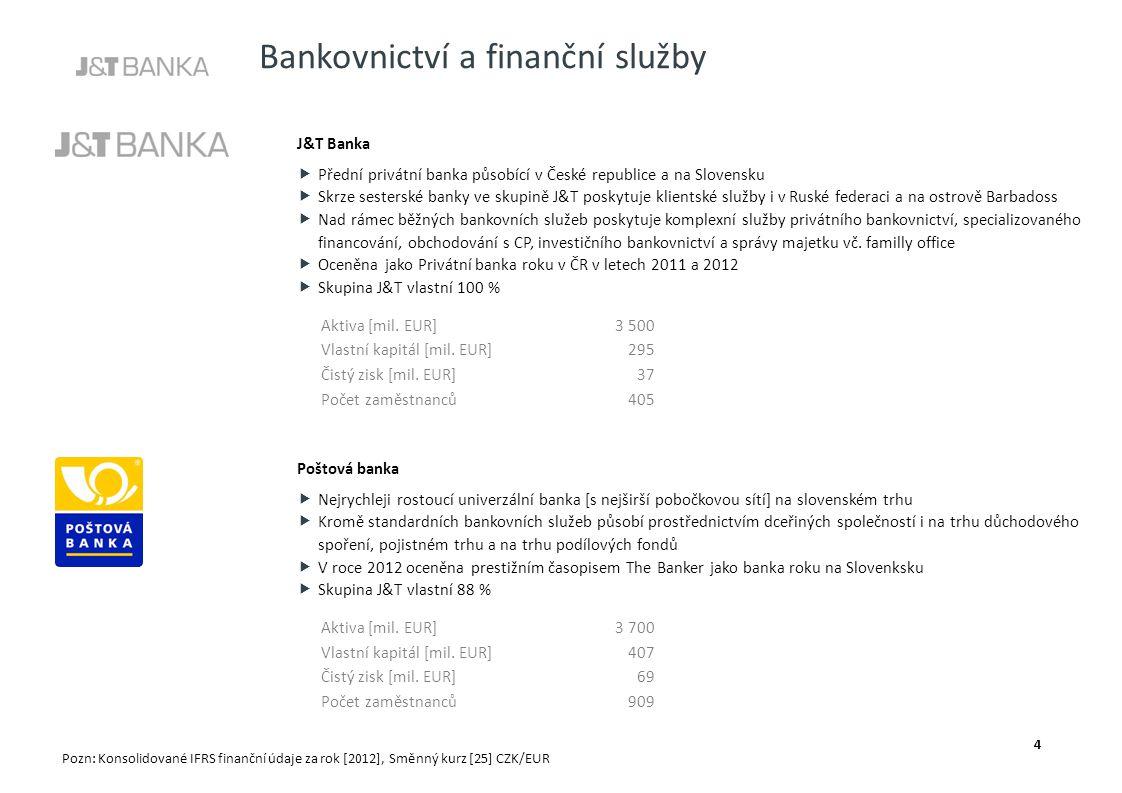 Bankovnictví a finanční služby J&T Banka  Přední privátní banka působící v České republice a na Slovensku  Skrze sesterské banky ve skupině J&T posk