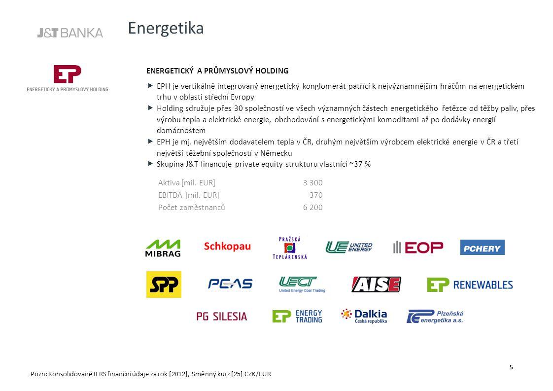 Energetika ENERGETICKÝ A PRŮMYSLOVÝ HOLDING  EPH je vertikálně integrovaný energetický konglomerát patřící k nejvýznamnějším hráčům na energetickém trhu v oblasti střední Evropy  Holding sdružuje přes 30 společností ve všech významných částech energetického řetězce od těžby paliv, přes výrobu tepla a elektrické energie, obchodování s energetickými komoditami až po dodávky energií domácnostem  EPH je mj.