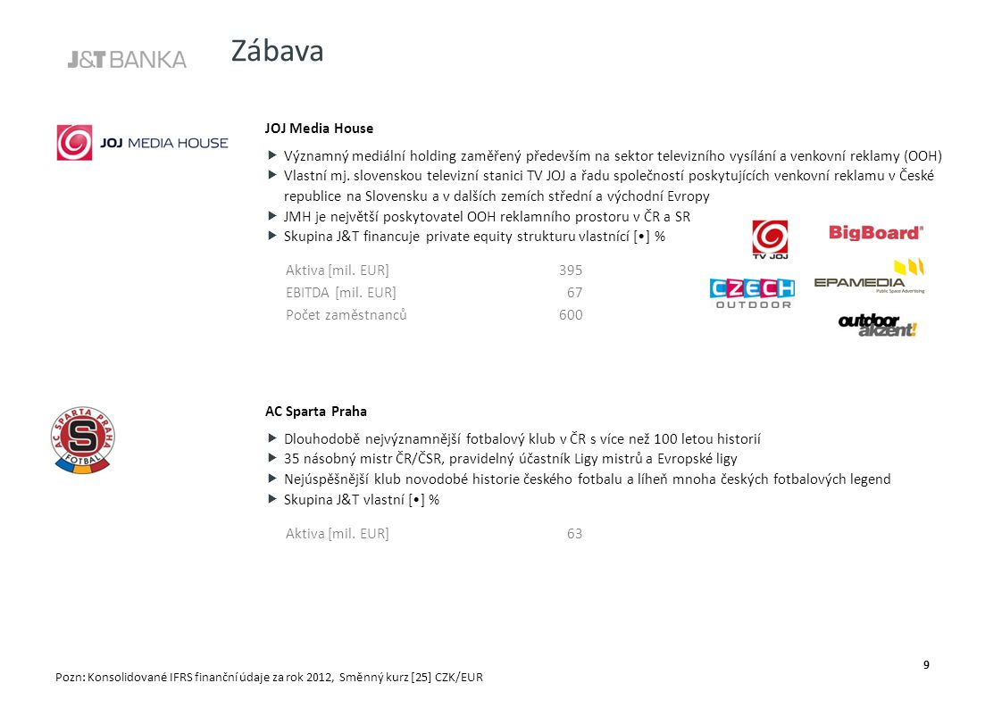 Zábava JOJ Media House  Významný mediální holding zaměřený především na sektor televizního vysílání a venkovní reklamy (OOH)  Vlastní mj. slovenskou