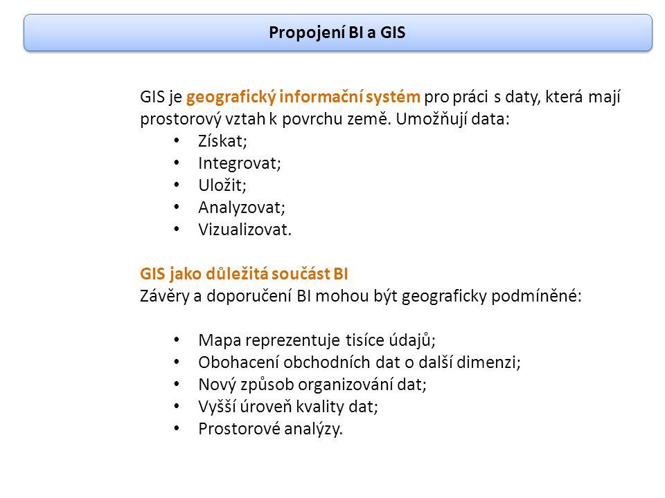 Propojení BI a GIS GIS je geografický informační systém pro práci s daty, která mají prostorový vztah k povrchu země. Umožňují data: Získat; Integrova
